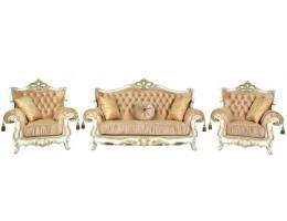Комплект мягкой мебели Эсмеральда белый (ткань золото)