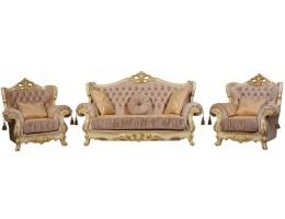 Комплект мягкой мебели Эсмеральда крем (ткань золото)