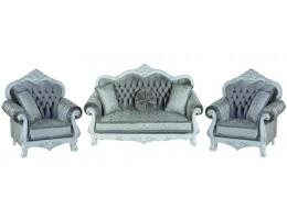 Комплект мягкой мебели Илона белый (ткань серебро)