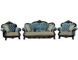 Комплект мягкой мебели Илона орех (ткань бирюза)