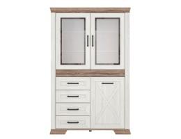 Комбинированный шкаф MARSELLE REG2W1D4S, ясень снежный/дуб сонома темный