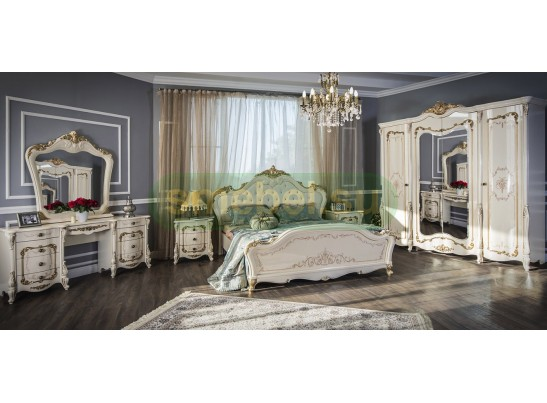 Кровать двуспальная с мягким изголовьем Энрике крем глянец